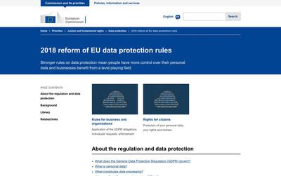 図1 欧州委員会によるGDPR(一般データ保護規則)を説明した公式ウェブサイト