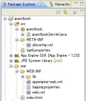 図12 Package ExplorerのGAEプロジェクト表示