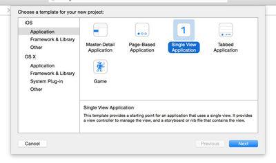 図2 Single View Applicationを選択