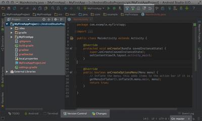 図5 Git連携状態のAndroid Studio