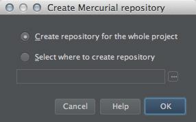 図4 「Create Mercurial repository」ダイアログ