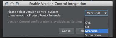 図3 「Enable Version Control Integration」ダイアログ