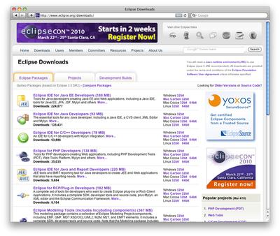 図5 Eclipseのダウンロードページ。多くのパッケージがあるので間違いないように注意。