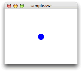 図4 円の描かれたShapeインスタンスを関数でつくってステージ中央に配置