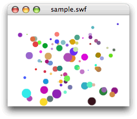 図5 ステージ上にランダムな位置とサイズおよびカラーの円のShapeが配置された