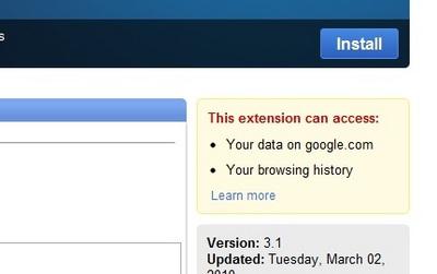 図1 アクセス許可の表示(Google Mail Checker)