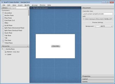 図1 JavaFX Scene BuilderによるUIの作成