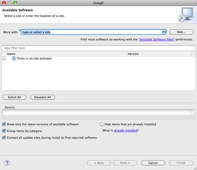 ソフトウェア追加インストールダイアログ