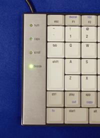 写真5 Dvorak配列時のLED点灯