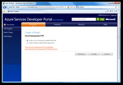 図1 Live Framework-enabled Web site プロジェクトの作成