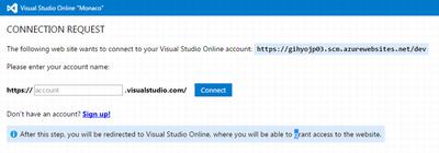 自身のVisual Studio Onlineのプロジェクト名を入力