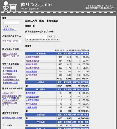 降りつぶし.net:記録の入力・編集-事業者選択画面