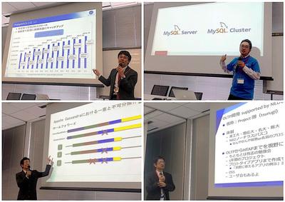「データベース比較セミナー」の各セッションの模様,高塚遙氏(左上),梶山隆輔氏(右上),冨田和孝氏(左下),神林飛志氏(右下)