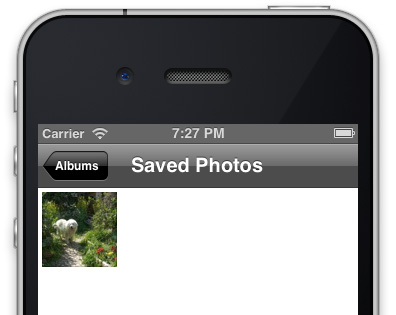 アルバムに画像が保存されていることを確認