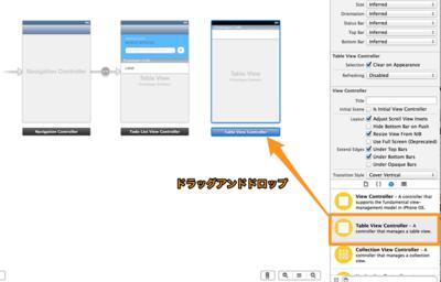 「Table View Controller」をドラッグアンドドロップして追加します