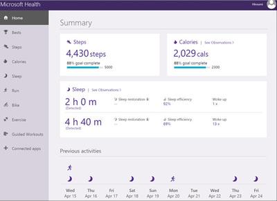 Microsoft Bandのダッシュボードの画面
