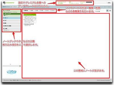 ログイン後に表示されるWebインターフェース。