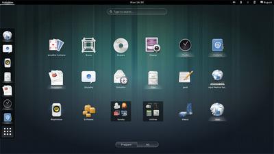 図1 GNOME 3.8のスクリーンショット