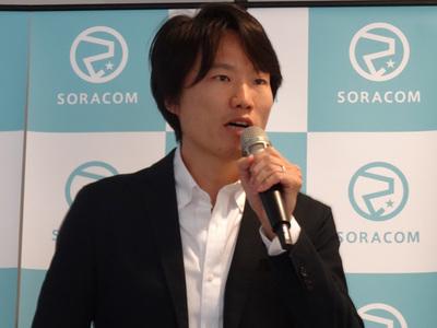 説明会でサービスを紹介する(株)ソラコム代表取締役社長 玉川憲氏