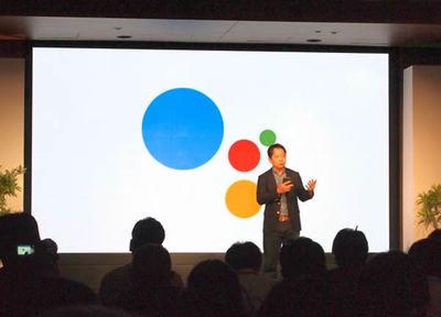 Google Home / Google Home Miniの発表を行う,グーグル合同会社製品開発本部長,徳生裕人氏