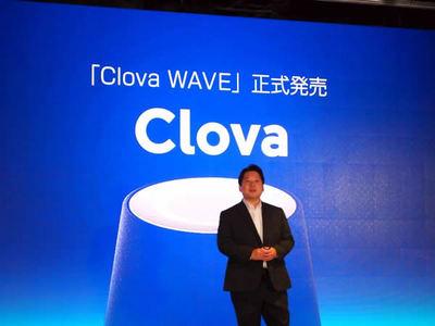 Clova WAVEの正式発売を発表するLINE株式会社取締役CSMO兼Clova事業責任者の舛田淳氏
