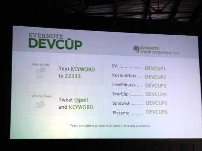 Devcupの選考方法は2つ。SMSを利用した投票とTwitterのメンションを利用した投票