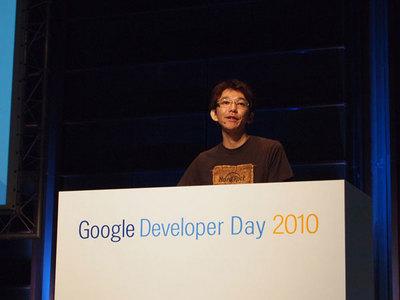 及川卓也氏。HTML5というWeb標準技術の可能性について,Googleの取り組みと合わせて語った。