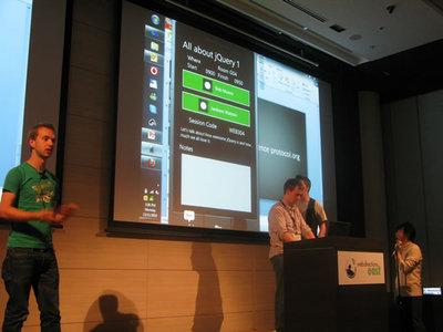 写真5 Open Conference ProtocolというアイデアをiPhoneアプリとして実装したチーム