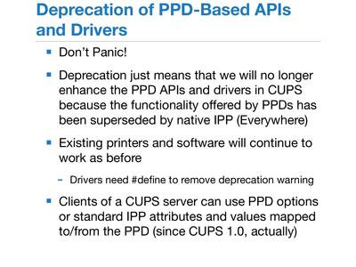 PPD Deprecationの意味を説明するスライド