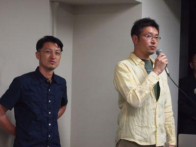 Jimdoカフェ大阪・神戸から,有限会社バックステージ代表 河合義徳氏(右)と有限会社エーエムアール代表 近藤光央氏(左)。Jimdoカフェは,JimdoユーザとこれからJimdoユーザのためのコミュニティで,日本各地に存在します