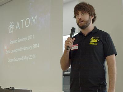 つい先日オープンソース化が発表され話題を呼んだAtomについて発表するNathan Sobo氏