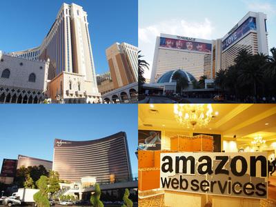 re:Inventのメイン会場となったThe Venetian Hotel & Casino(左上),分野別のテックセッションをまとめた「re:Source Mini Con」が行われるThe Mirage Resort and Casino(右上),ハンズオンなどが行われるEncore At Wynn Las Vegas(左下),右下は会場入り口のにあるLEGOを使って来場者が組み上げていくAmazonロゴ