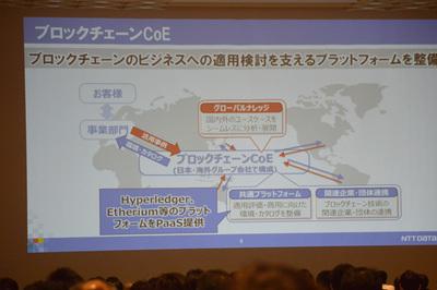 NTTデータは国内外のグループ企業を含めた全社態勢でブロックチェーンの推進に取り組んでおり,多くの実証実験に参加している。今回のイベントではブロックチェーンだけで1トラックを設け,すべて満席となった