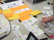 まず言語化したアイデアとMESHのアクションを,カードを並び替えて動きにしていく(左)