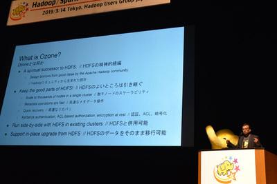 鰺坂氏の講演に続き,進化するHadoopを象徴する技術として,鰺坂氏と同じくHadoop PMCメンバーとして活躍中のArpit Agarwal氏(Cloudera)による新たなオブジェクトストレージ技術Ozoneの解説が行われた